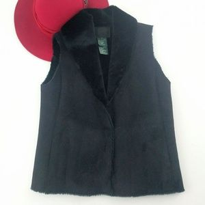 Lauren | Black Suede Like Faux Fur Luxury Vest Sm